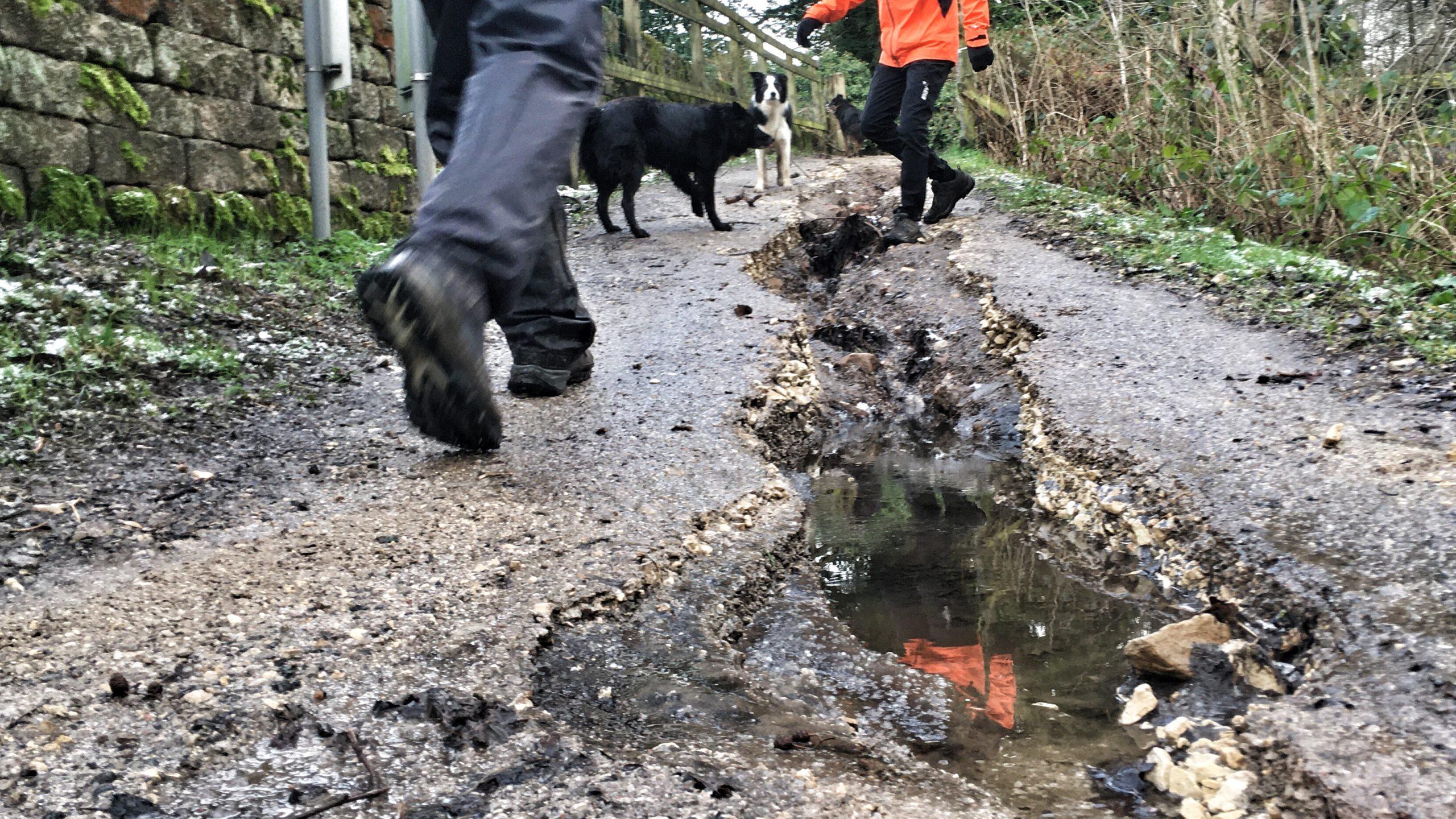 Flood damage on Damflask footpath