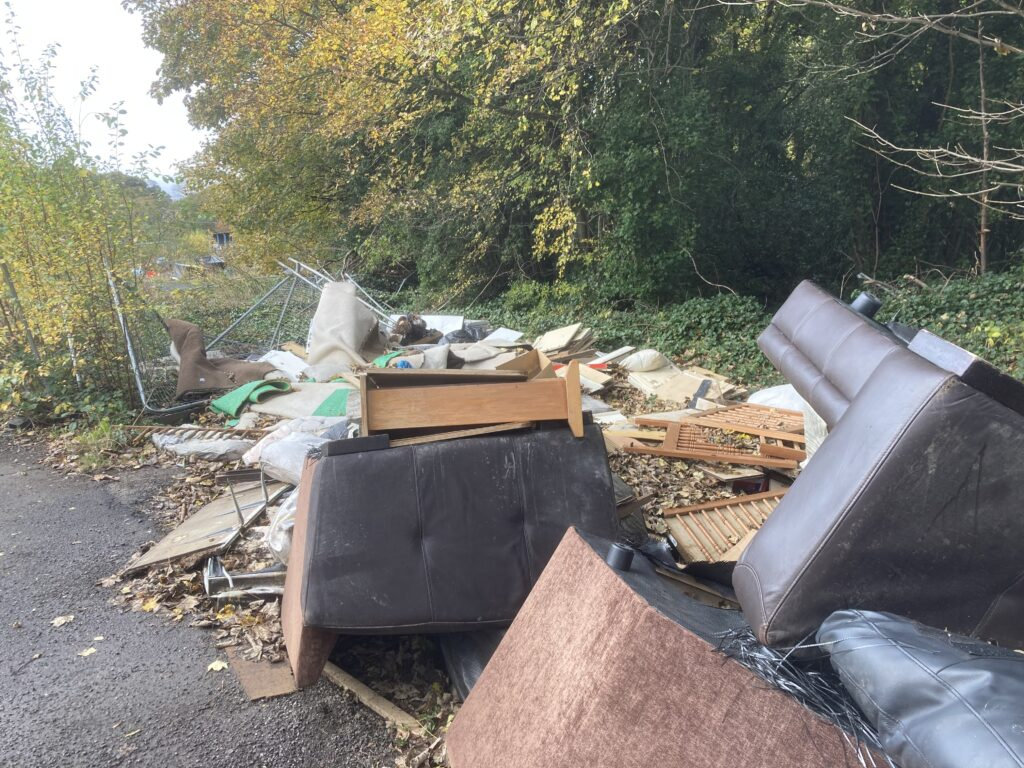 Some of the waste that has accumulated on the site in the Loxley valley