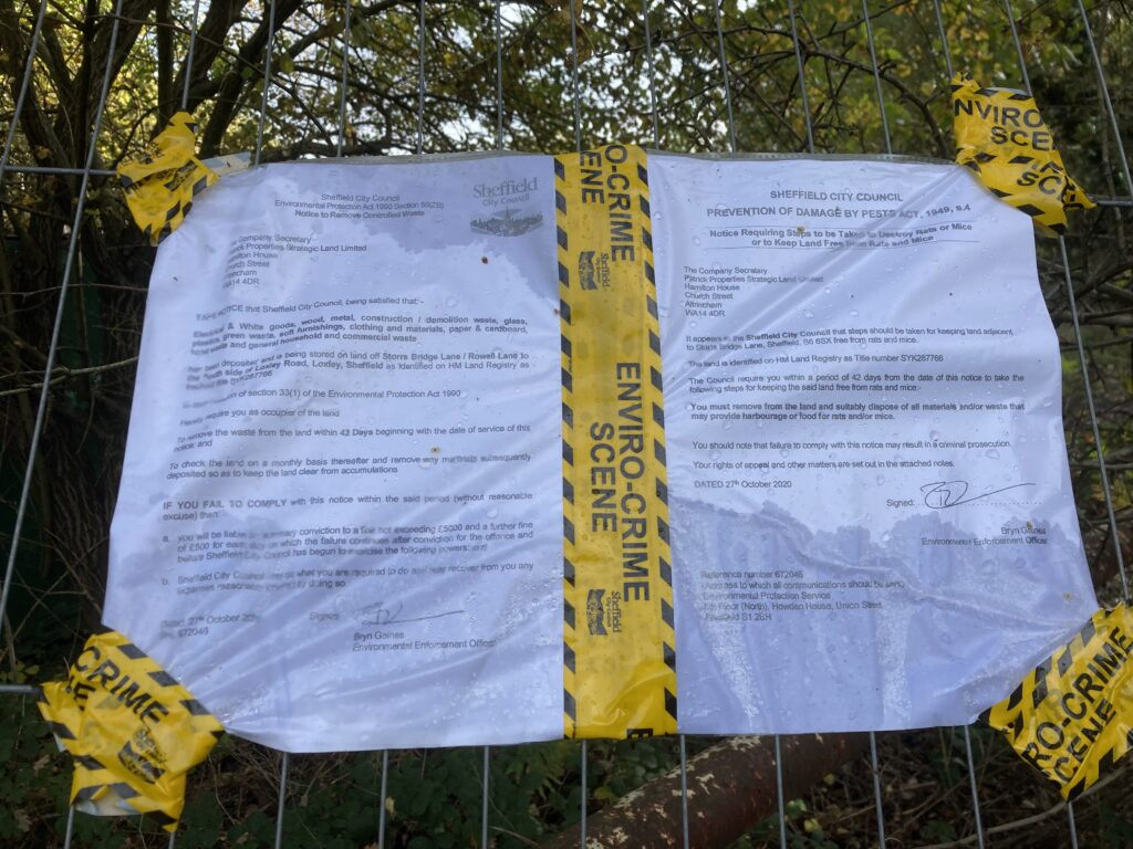 The notices that have been served on Patrick Properties in the Loxley valley
